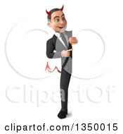 Clipart Of A 3d Full Length Young White Devil Businessman Pointing Around A Sign Royalty Free Illustration
