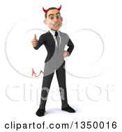 Clipart Of A 3d Young White Devil Businessman Giving A Thumb Up Royalty Free Illustration