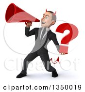 Clipart Of A 3d Young White Devil Businessman Holding A Question Mark And Using A Megaphone Royalty Free Illustration