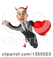Clipart Of A 3d Young White Devil Businessman Holding A Love Heart And Flying Royalty Free Illustration