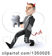 Clipart Of A 3d Young White Devil Businessman Holding A Tooth And Speed Walking To The Left Royalty Free Illustration