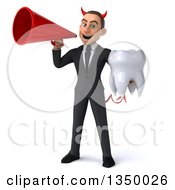 Clipart Of A 3d Young White Devil Businessman Holding A Tooth And Using A Megaphone Royalty Free Illustration