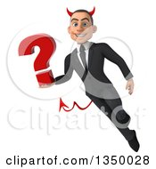 Clipart Of A 3d Young White Devil Businessman Holding A Question Mark And Flying Royalty Free Illustration