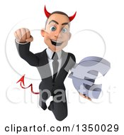 Clipart Of A 3d Young White Devil Businessman Holding A Euro Currency Symbol And Flying Royalty Free Illustration