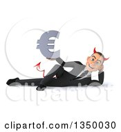 Clipart Of A 3d Young White Devil Businessman Holding A Euro Currency Symbol And Resting On His Side Royalty Free Illustration