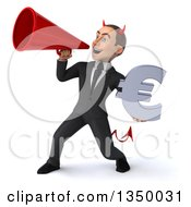 Clipart Of A 3d Young White Devil Businessman Holding A Euro Currency Symbol And Using A Megaphone Royalty Free Illustration