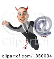 Clipart Of A 3d Young White Devil Businessman Holding An Email Arobase At Symbol And Flying Royalty Free Illustration