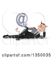 Clipart Of A 3d Young White Devil Businessman Holding An Email Arobase At Symbol And Resting On His Side Royalty Free Illustration
