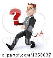 Clipart Of A 3d Young White Devil Businessman Holding A Question Mark And Speed Walking To The Left Royalty Free Illustration
