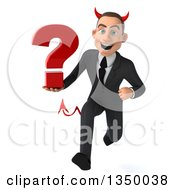 Clipart Of A 3d Young White Devil Businessman Holding A Question Mark And Sprinting Royalty Free Illustration