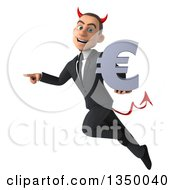 Clipart Of A 3d Young White Devil Businessman Holding A Euro Currency Symbol Pointing And Flying Royalty Free Illustration