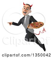 Clipart Of A 3d Young White Devil Businessman Holding A Pizza Pointing And Flying Royalty Free Illustration