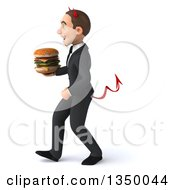 Clipart Of A 3d Young White Devil Businessman Holding A Double Cheeseburger And Walking To The Left Royalty Free Illustration