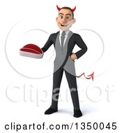 Clipart Of A 3d Young White Devil Businessman Holding A Beef Steak Royalty Free Illustration