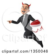 Clipart Of A 3d Young White Devil Businessman Holding A Beef Steak Pointing Flying Royalty Free Illustration