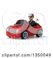 Clipart Of A 3d Young White Devil Businessman Wearing Sunglasses And Driving A Red Convertible Car To The Left Royalty Free Illustration