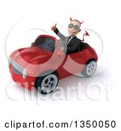 Clipart Of A 3d Young White Devil Businessman Wearing Sunglasses Giving A Thumb Up And Driving A Red Convertible Car To The Left Royalty Free Illustration