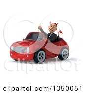 Clipart Of A 3d Young White Devil Businessman Giving A Thumb Up Driving A Red Convertible Car To The Left Royalty Free Illustration