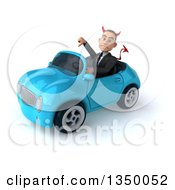 Clipart Of A 3d Young White Devil Businessman Giving A Thumb Down And Driving A Blue Convertible Car To The Left Royalty Free Illustration
