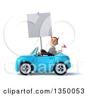 Clipart Of A 3d Young White Devil Businessman Holding A Blank Sign And Driving A Blue Convertible Car To The Left Royalty Free Illustration