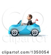 Clipart Of A 3d Young White Devil Businessman Driving A Blue Convertible Car To The Left Royalty Free Illustration