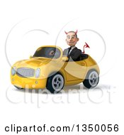 Clipart Of A 3d Young White Devil Businessman Driving A Yellow Convertible Car To The Left Royalty Free Illustration