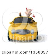 Clipart Of A 3d Young White Devil Businessman Giving A Thumb Up And Driving A Yellow Convertible Car Royalty Free Illustration