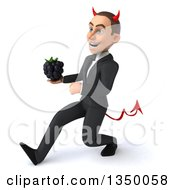 Clipart Of A 3d Young White Devil Businessman Holding A Blackberry And Speed Walking To The Left Royalty Free Illustration
