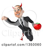 Clipart Of A 3d Young White Devil Businessman Holding A Tomato And Flying Royalty Free Illustration