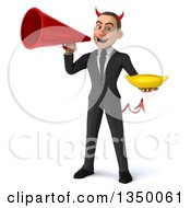 Clipart Of A 3d Young White Devil Businessman Holding A Banana And Using A Megaphone Royalty Free Illustration
