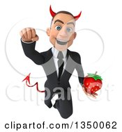 Clipart Of A 3d Young White Devil Businessman Holding A Strawberry And Flying Royalty Free Illustration