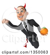 Clipart Of A 3d Young White Devil Businessman Holding A Navel Orange And Flying Royalty Free Illustration