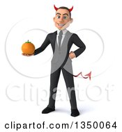 Clipart Of A 3d Young White Devil Businessman Holding A Navel Orange Royalty Free Illustration