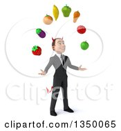 Clipart Of A 3d Young White Devil Businessman Facing Right And Juggling Produce Royalty Free Illustration