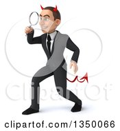 Clipart Of A 3d Young White Devil Businessman Facing Left And Searching With A Magnifying Glass Royalty Free Illustration