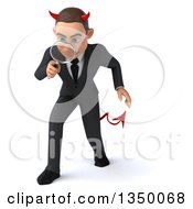 Clipart Of A 3d Young White Devil Businessman Looking Down And Searching With A Magnifying Glass Royalty Free Illustration