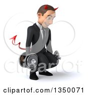 Clipart Of A 3d Young White Devil Businessman Facing Right Squatting And Working Out With Dumbbells Royalty Free Illustration by Julos