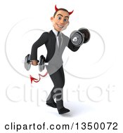 Clipart Of A 3d Young White Devil Businessman Walking To The Right Doing Bicep Curls And Working Out With Dumbbells Royalty Free Illustration