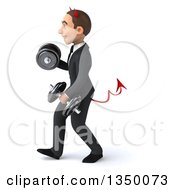 Clipart Of A 3d Young White Devil Businessman Walking To The Left Doing Bicep Curls And Working Out With Dumbbells Royalty Free Illustration