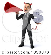 Clipart Of A 3d Young White Devil Businessman Holding A Dollar Currency Symbol And Using A Megaphone Royalty Free Illustration