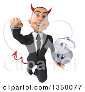Clipart Of A 3d Young White Devil Businessman Holding A Dollar Currency Symbol And Flying Royalty Free Illustration