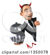 Clipart Of A 3d Young White Devil Businessman Holding A Dollar Currency Symbol Around A Sign Royalty Free Illustration