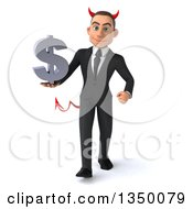 Clipart Of A 3d Young White Devil Businessman Holding A Dollar Currency Symbol And Walking Royalty Free Illustration by Julos