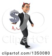 Clipart Of A 3d Young White Devil Businessman Holding A Dollar Currency Symbol And Walking To The Right Royalty Free Illustration by Julos
