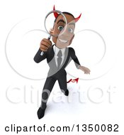 Clipart Of A 3d Young Black Devil Businessman Looking Up And Searching With A Magnifying Glass Royalty Free Illustration