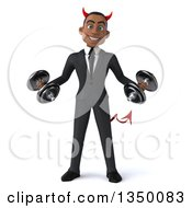 Clipart Of A 3d Young Black Devil Businessman Working Out With Dumbbells Royalty Free Illustration