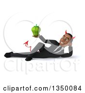Clipart Of A 3d Young Black Devil Businessman Holding A Green Bell Pepper And Resting On His Side Royalty Free Illustration by Julos