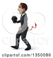 Clipart Of A 3d Young Black Devil Businessman Holding A Blackberry And Walking To The Left Royalty Free Illustration