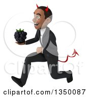 Clipart Of A 3d Young Black Devil Businessman Holding A Blackberry And Sprinting To The Left Royalty Free Illustration