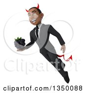 Clipart Of A 3d Young Black Devil Businessman Holding A Blackberry And Flying Royalty Free Illustration
